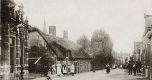 Beeld uit 1904 van de Gouderakse Dorpsstraat met, naar alle waarschijnlijkheid, de bewuste boom.