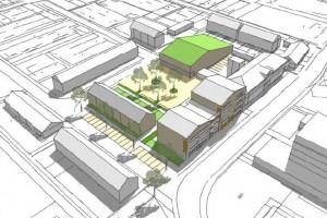 De locatie KW-school. De commissie was kritisch over de bouwmassa van het appartementencomplex.