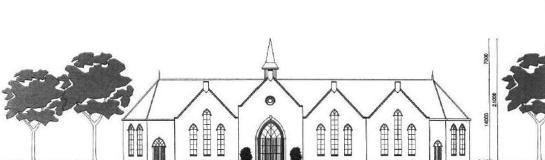 Een schets van de kerk zoals de HHG die voor ogen heeft. Deze is groter dan die in de stedenbouwkundige visie staat; niettemin stemden ChristenUnie en CDA in met het voorstel een gebouw als dit mogelijk te maken op de groenstrook.