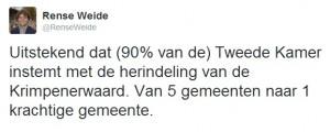 Instemmende reacties op Twitter op het Kamerbesluit, zoals van VVD-Statenlid Rense Weide.