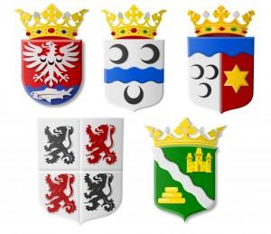 De vijf gemeentewapens laten zich moeilijk samenvoegen tot één nieuw wapen.