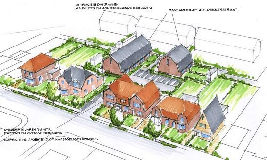 Overzicht van het plan voor de locatie Kerkweg 45-47.